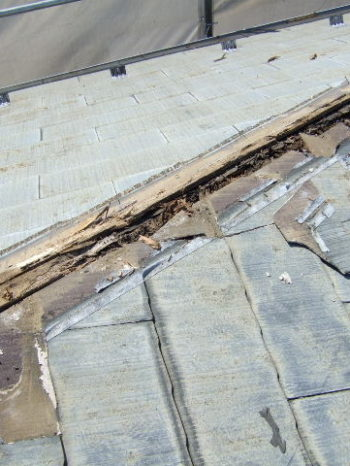 K様邸の屋根の雨漏り箇所の様子