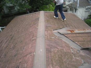柏市T様邸屋根カバー工法前の様子