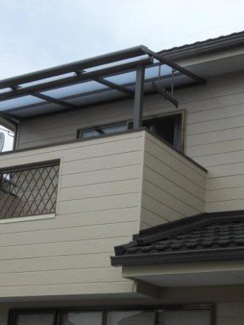 柏市T様邸のベランダテラス屋根の取り付けした様子