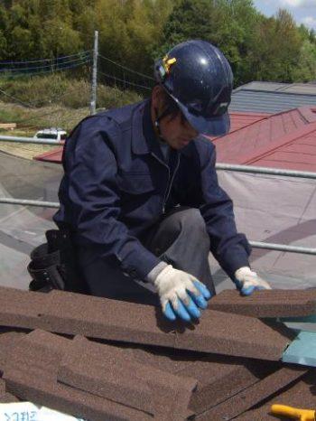 柏市K様邸屋根のカバー工法作業の様子