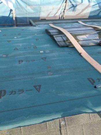 我孫子市K様邸の屋根カバー工法の様子