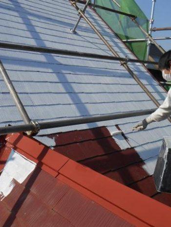 白井市T様邸の屋根の下塗り