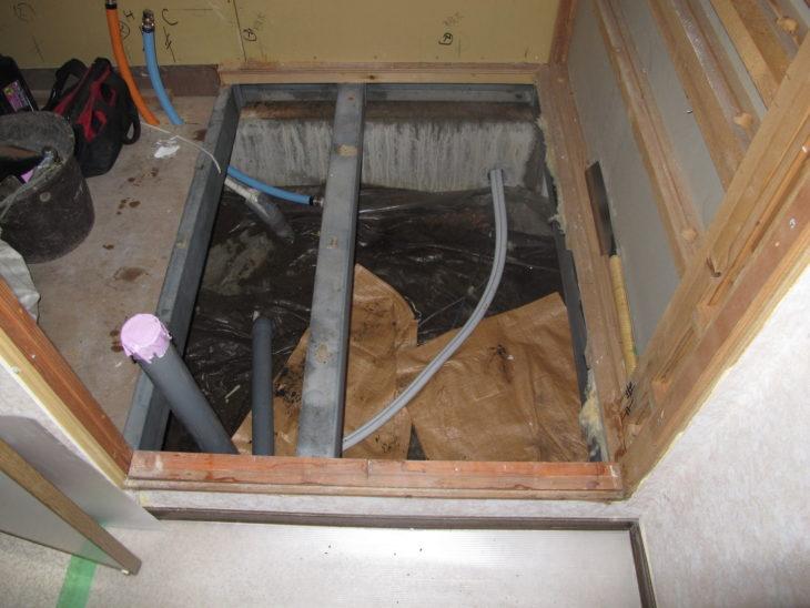 セキスイハイムの浴室リフォーム解体後の様子